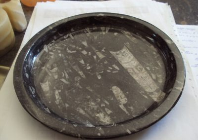 Marble plate with nautilus