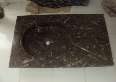 Black marble basin with fossils