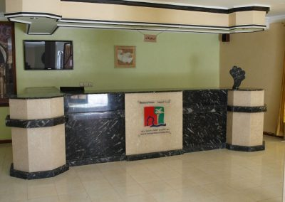 Marble reception with fossils