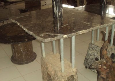 Square table with nautiluses
