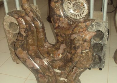 Marble sculpture with ammonites