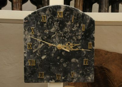 Marble clock with nautiluses