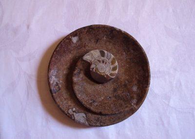 Ashtray with ammonite